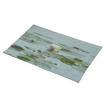 White Nenuphar Dragonfly Cloth Placemat