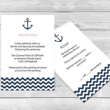 Nautical Wedding Reception Card - Navy Anchor & Waves Printable Response Card Editable PDF Template Download Instantly - 3,5 x 5 PDF Format