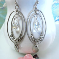 Double silver hoop Swarovski crystal oval hoop earrings