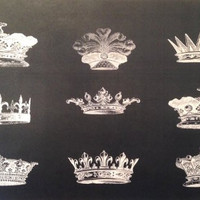 French Paper Dining Placemats - Set of 12 (Crowns (Black))