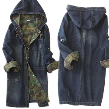 2016 Single-breasted long denim hooded jacket camouflage high quality women denim jacket spell color