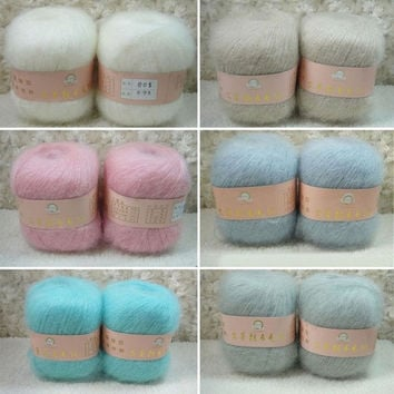 Smooth Soft Knitting Yarn Natural Angola Mohair Cashmere Wool Skein = 1920437252