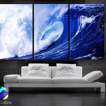 "LARGE 30""x 60"" 3 panels Art Canvas Print  Beach Ocean Sea Wave Blue White Wall (Included framed 1.5"" depth)"