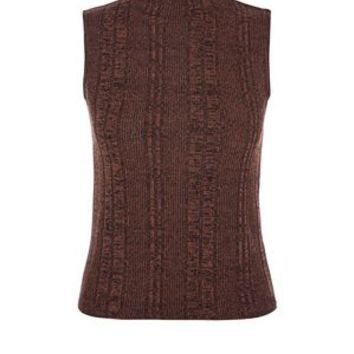 Dark Brown Fine Knit Ribbed Funnel Neck Sleeveless Top