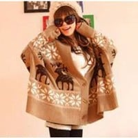 Popular Deep V-Neck Deer Patterns Stripes Bat-Wing Sleeves Special Button Coat For Women China Wholesale - Everbuying.com