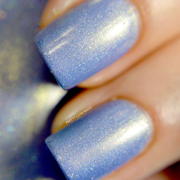 Gleam - Holographic Cornflower Blue Polish with Peach Shimmer