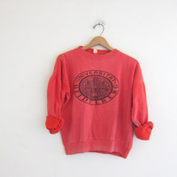 Vintage 80s sweatshirt. salmon pink Heidelberg University sweater