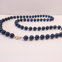 Vintage Navy Blue Beaded Necklace Retro Jewelry Fashion Accessories For Her