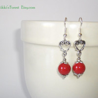 Pendant earrings, with metal hearts and red Swarovski pearls. Valentine's Day gift.