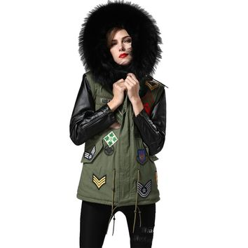 Women Winter Parkas Army Green Thicken Coat Real Large Fur Raccoon Collar Fashion Hooded Jackets Long Leather Sleeve Outwear 2XL