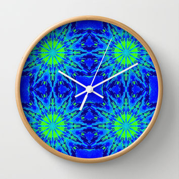 Green & Blue Starburst Series Wall Clock by 2sweet4words Designs