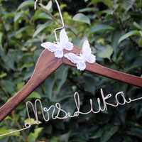 Butterfly Hanger, Personalized Wedding Hanger, Fancy, Handmade flower Custom Name Hanger Bridal Hanger Bride Hanger Wire