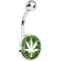 Field of Ganja Leaves White Pot Leaf Belly Ring | Body Candy Body Jewelry