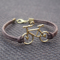 Bike Bracelet Single Bicycle Bracelet Bronze-Brown Leather Bracelet-Men Gift-Boy Bracelet-Best Friendship Jewelry Gift
