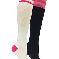 MISMATCHED STRIPES 2 PACK KNEE HIGH SOCKS MULTI