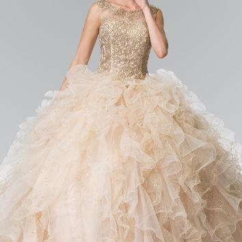 Gold embroidered quinceanera Dress #gl2208