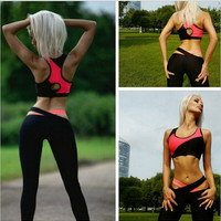 Summer Women Yoga Set Gym Fitness Sports Suits Patchwork Two Piece Tops+Pants Elastic Bandage Yoga Clothing Jogging Femme