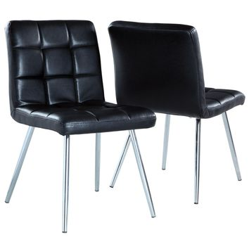 "Black Leather-Look / Chrome Metal 32""H Dining Chair (Set Of 2)"
