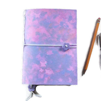 Journal or Notebook, Handmade - Pinks & Purple with Butterflies, with Bookmark and Button Closure. Hand stitched. Gift Idea, Stationery,