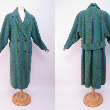Vintage Jimmy Hourihan of Dublin Denogal Tweed Coat Made in Ireland Oversized Green Blue Wool Coat 80s 12 XL 1XL