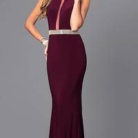 High-Neck Faviana Long Prom Dress with Embellished Waist