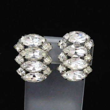 Weiss Marquise Rhinestone Earrings, Vintage Silver Tone Designer Signed Clip-on Earrings, Bridal Jewelry, FREE SHIPPING