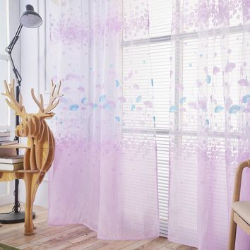Ginkgo Biloba Curtains Floral Tulle Window Screening Curtain Drape Panel Decal for Living Room Bedroom Balcony Window Curtain