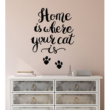 Vinyl Wall Decal Funny Quote For Home Interior Home Is Where Your Cat Stickers (3344ig)
