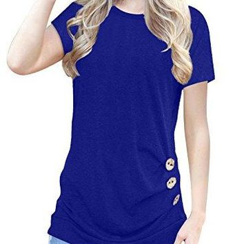 IVVIC ONeck Casual Loose Button Down Short Sleeve Shirts Tunics Tunic Tops for Leggings for Women