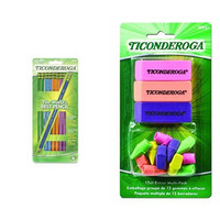 Dixon Ticonderoga Wood-Cased #2 Pencils, Black Lead, Box of 10 and Eraser Combination Set, 15 Pieces