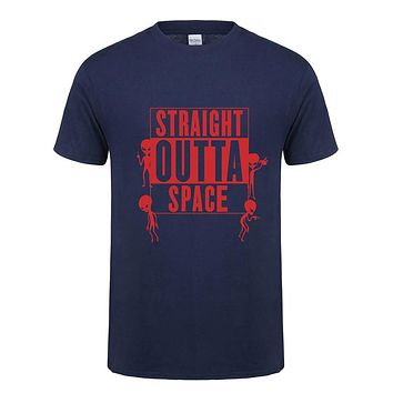 Summer Straight Outta Space Men Printed Short Sleeve Cotton T Shirts