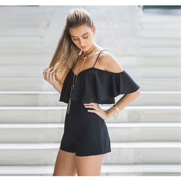 Fashion  Solid Color Frills V-Neck Strapless Short Sleeve Romper Jumpsuit Shorts