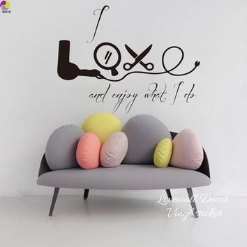 Hair Salon Wall Window Sticker I Love Enjoy what i do Quote Hairdressing Beauty Salon Decor Scissors Vinyl Stickers Home Decor