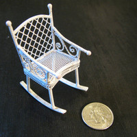 Metal Miniature Rocking Chair Dollhouse Baby's Room or Patio Garden