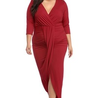 V Line Plus Size Dress