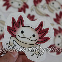 Axolotl Leucistic Sticker, Wall Decal, Static Cling, or Magnet--Design #201