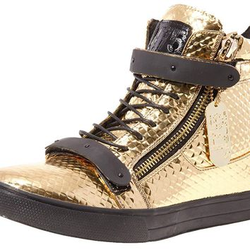 Jump J75 Men's Zion Round Toe Metallic Strap Lace-Up High-Top Sneaker