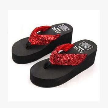 Soft Comfortable Wedge Women Flip Flops Sweet Medium Heel Summer Platform Shoes Fashio