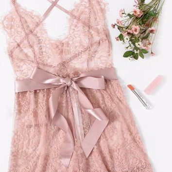 Sexy Lingerie Onesuits Sexy Pajama Bottoms Pink Spaghetti Strap Ribbon Tie Waist Plunging Lace Sleep Romper