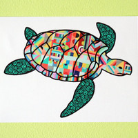 Sea Turtle Colorful Geometric Design Pattern Car Decal Bumper Sticker Teal