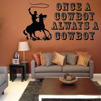 Cowboy Wall Art Western Decal Sticker with Horse