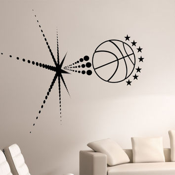 Basketball Wall Decal BURSTING SPACE GALAXY Sticker Art Decor Bedroom Design Mural sports lifestyle work out home decor universe stars