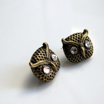 Whimsical Victorian Vintage Style Owl Hoot Swarovski crystals Bright Eyes Antique Bronze Earring Studs