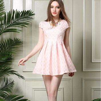 Polkadot Short-Sleeve Pleated Dress