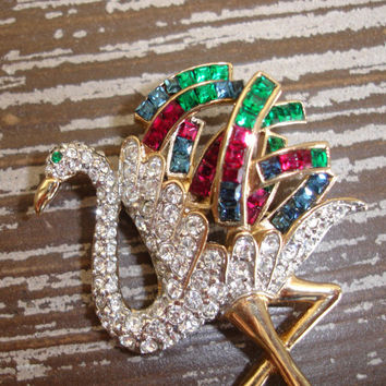 Vintage Flamingo Bird Rhinestone Brooch, Stork Ostrich Figural Pin, Pave and Channel Set, Multi Color, Gold Tone, Estate Costume Jewelry