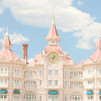 Disneyland, Paris - 8x10 Charming Photograph, Nursery Decor - Disney, Princess, Hotel, Blue Sky, Clouds, Pink, Soft, Pastel, Light, Sweet