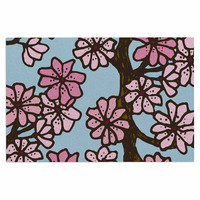 "Art Love Passion ""Cherry Blossom Day"" Floral Illustration Decorative Door Mat"