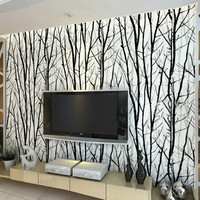 Country 3D Embossed Textured Tree Forest Woods Wallpaper Black White PVC Home Decor Wall Paper Roll For TV Sofa Background Walls