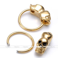 1x 16G Punk Stainless Steel Skull Nose Lip Nipple Eyebrow Bar Ring Hoop Piercing