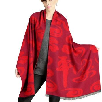Knitted Thick Cashmere Winter Scarf Chinese Style Red Scarf  Women Long Tassel Autumn Shawl Soft  Fashion Wrap
